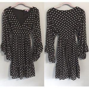 Betsey Johnson Dress Polka Dot Sheer Bell Sleeves